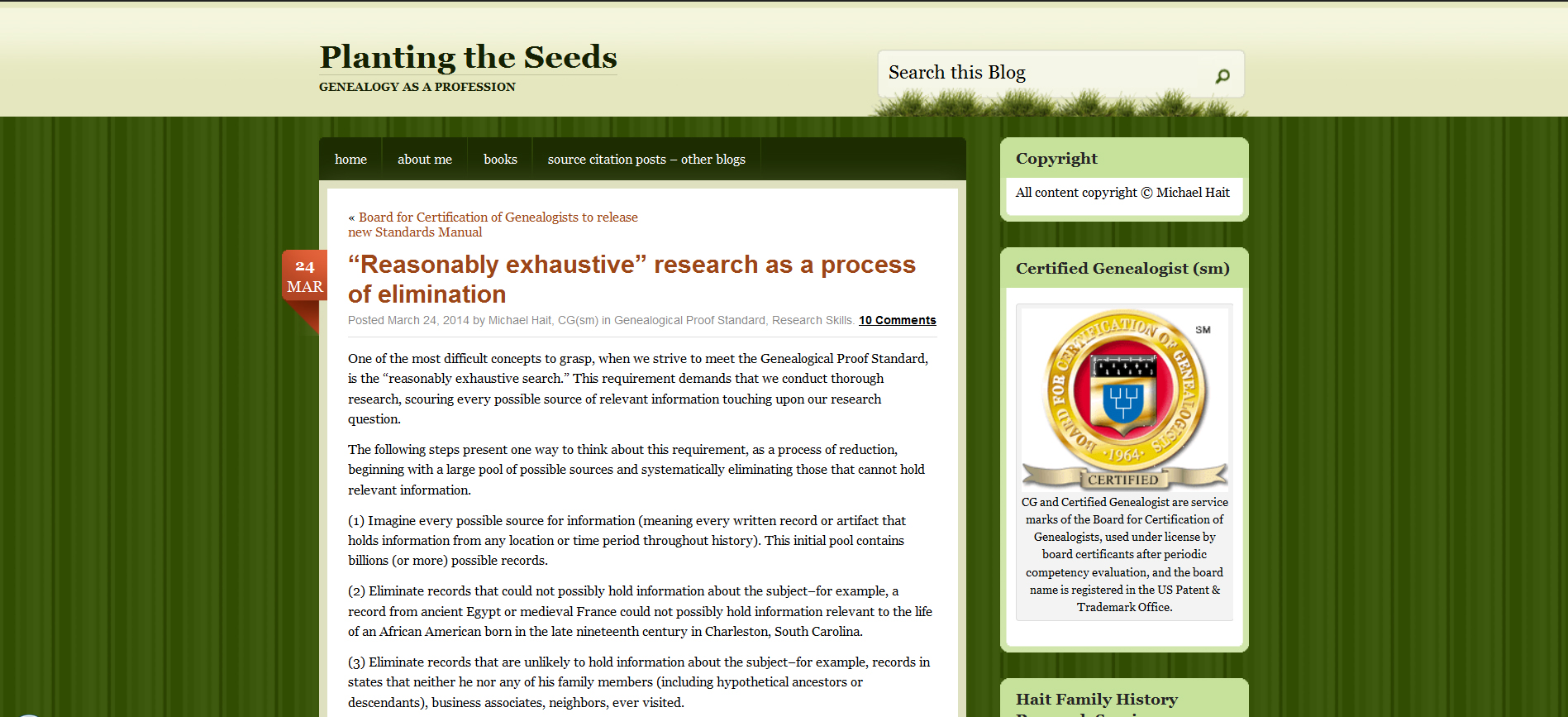 What Constitutes A Reasonably Exhaustive Search Genealogy Update